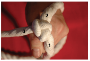 A hand holding three strands of rope placing the tail under the second strand creating a braid.