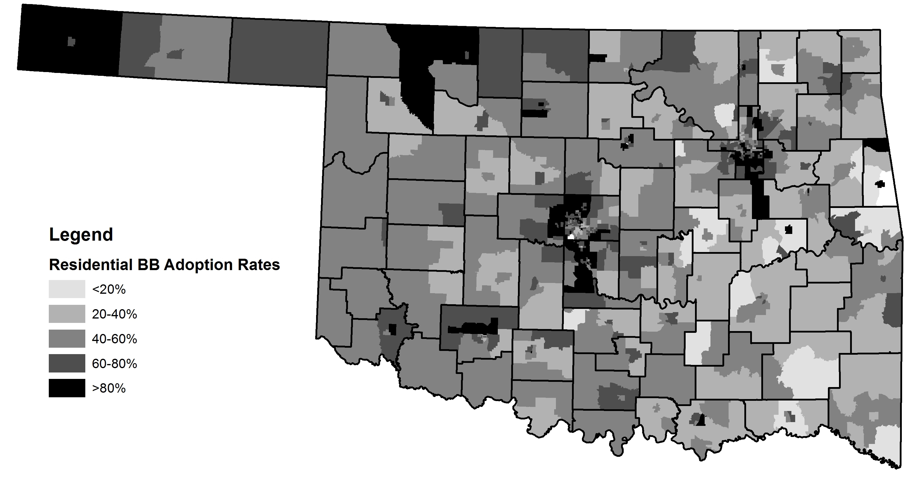 Census Tract Residential Broadband Adoption Rates in Oklahoma, 2013.