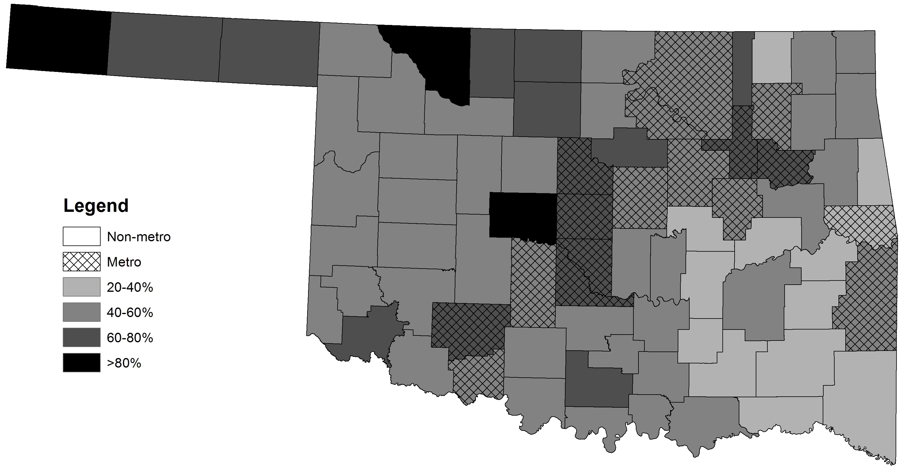 County-level Residential Broadband Adoption Rates in Oklahoma, 2013.