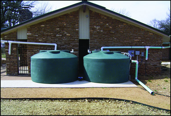 Rainwater harvesting system capable of capturing 2,200 gallons at the Xeriscape Gardens in Edmond, Oklahoma