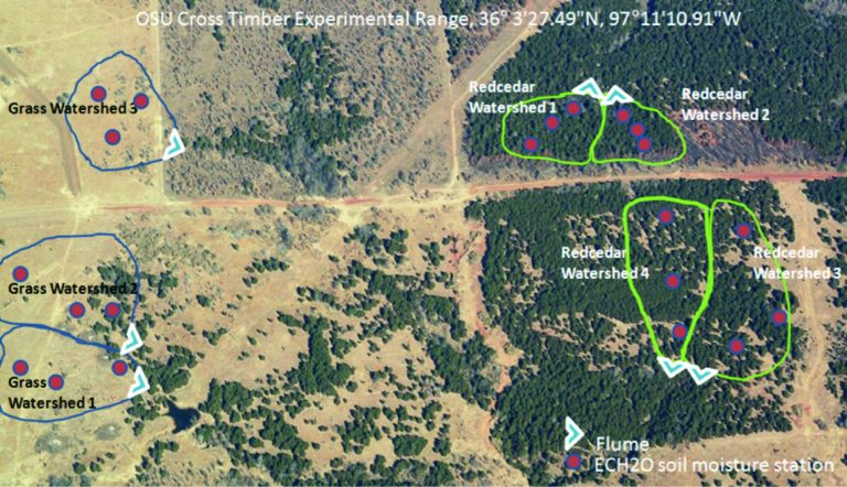 Aerial photo of OSU Cross Timbers Experimental Range.