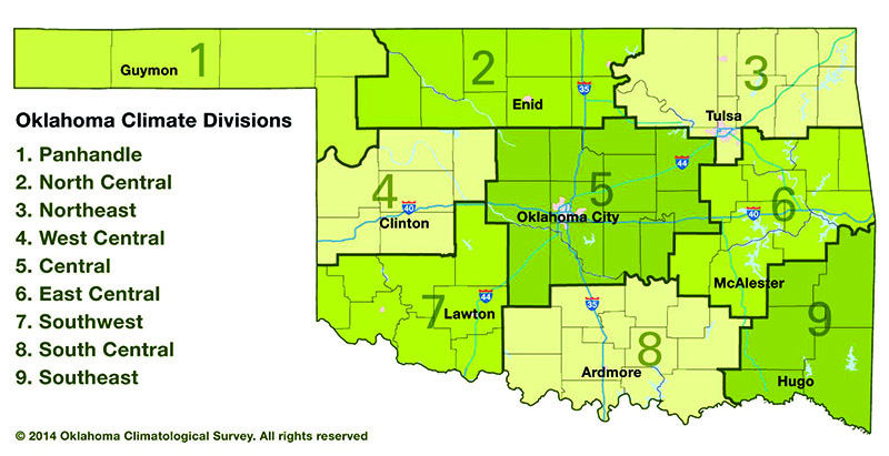 Oklahoma climate divisions.
