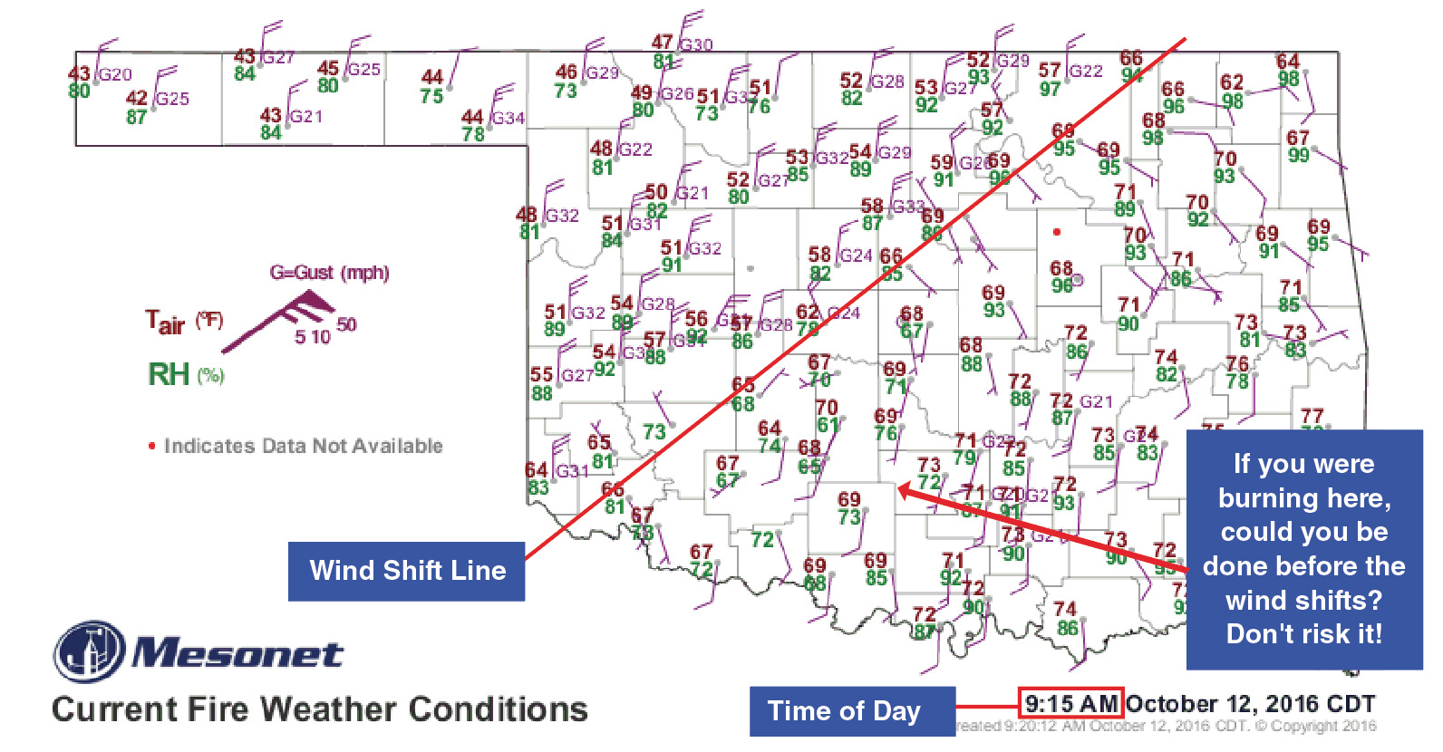 Map of Oklahoma showing the wind pattern