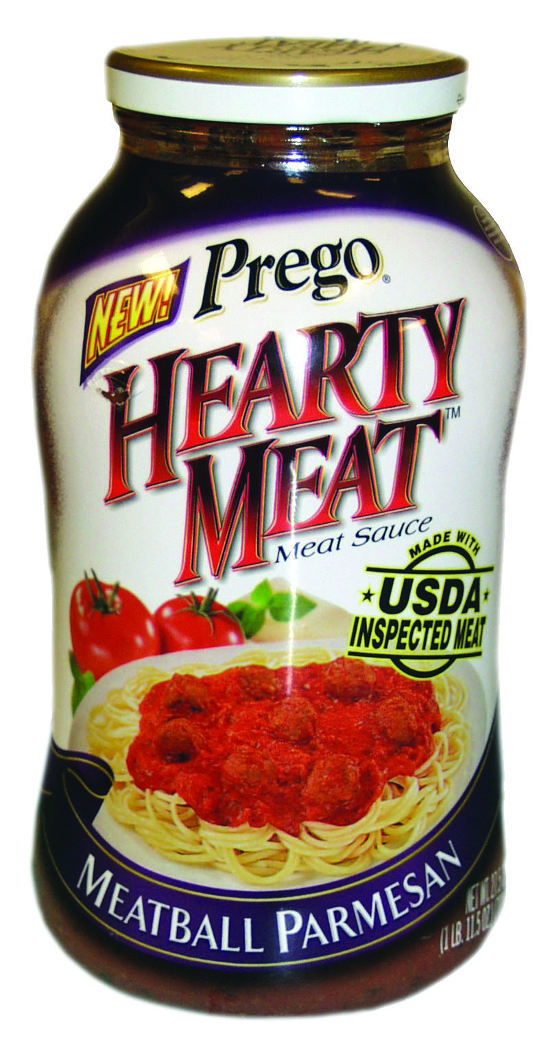 A jar of Prego Hearty Meat Sauce