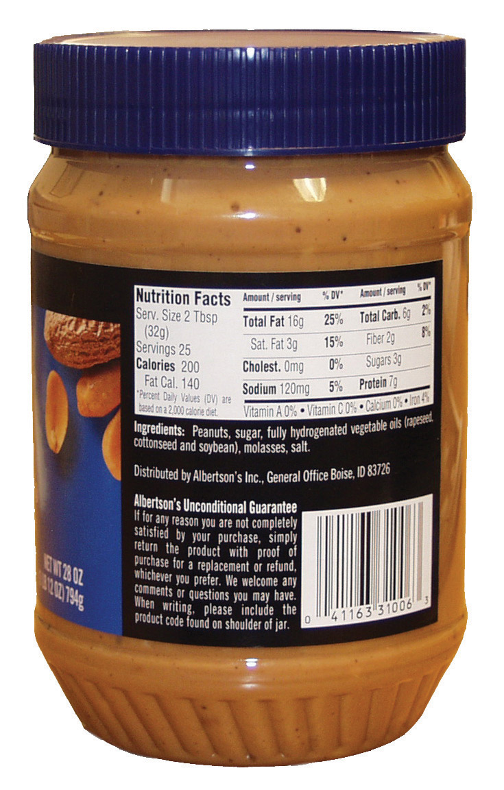 Information panel on a jar of peanut butter.