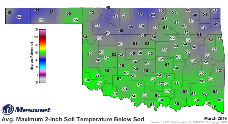 A map of Oklahoma showing the average soil temperature for March 2019.