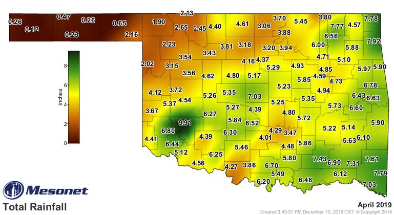 A map of Oklahoma showing the average monthly rainfall in April 2019.