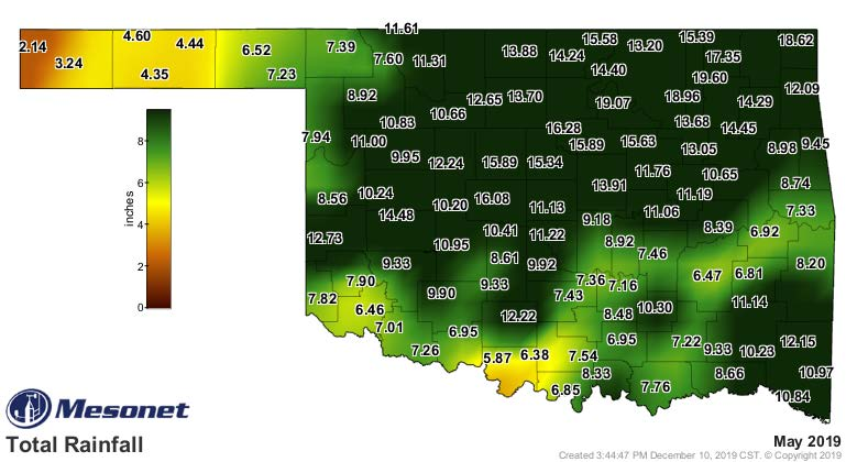 A map of Oklahoma showing the average monthly rainfall in May 2019.