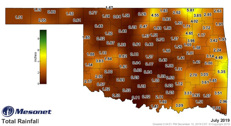 A map of Oklahoma showing the average rainfall for July 2019.