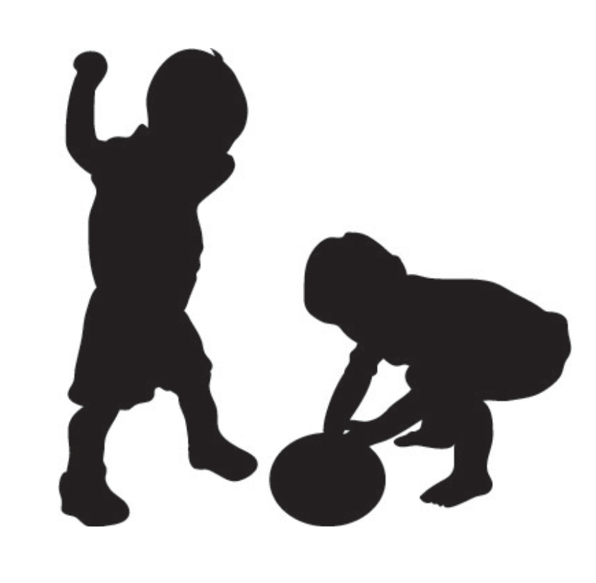 Two toddlers playing with a ball.