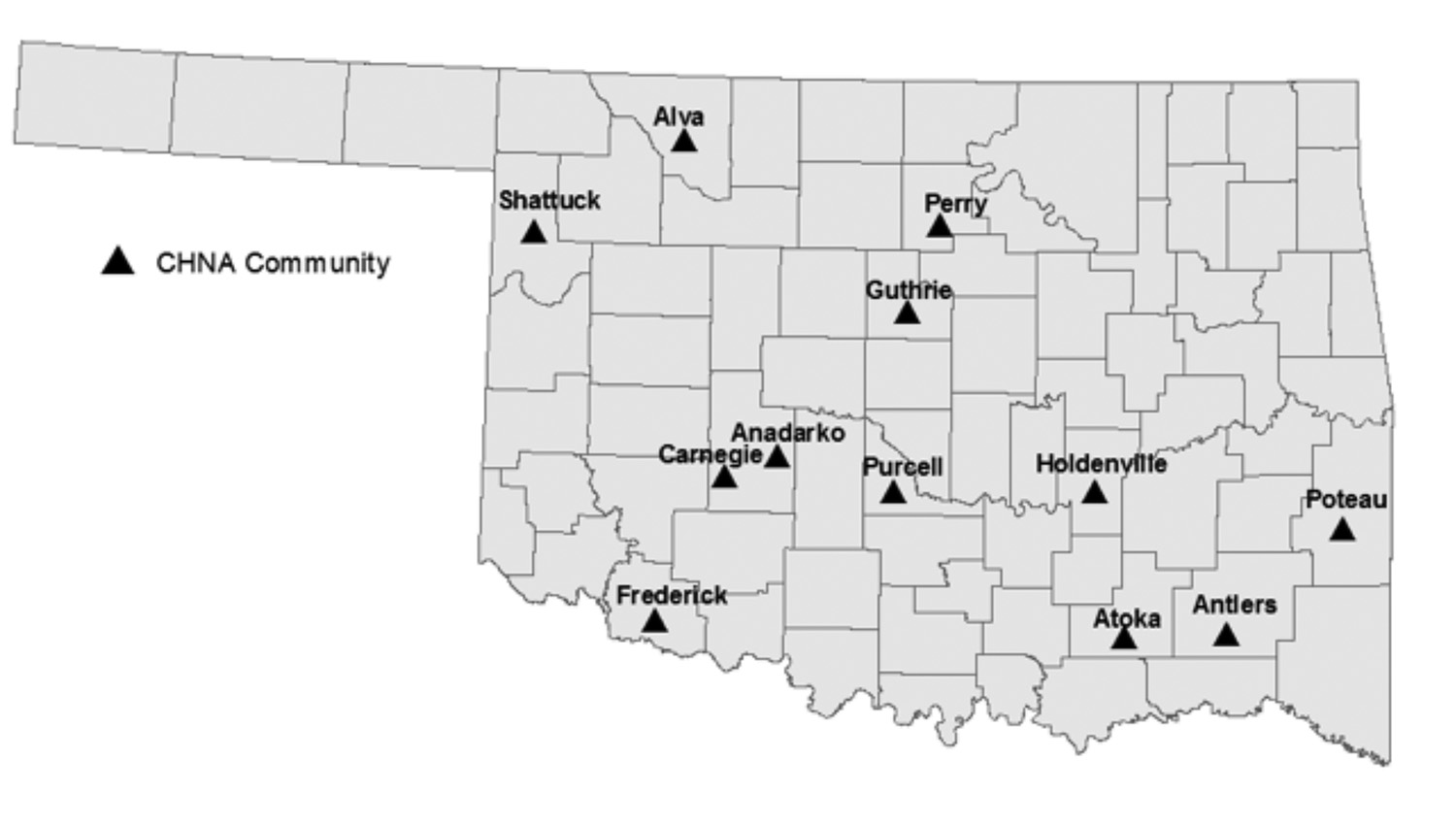 Oklahoma map showing community survey locations.