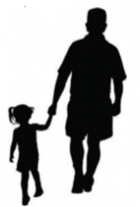 Sillouette of dad and daughter holding hands side-by-side