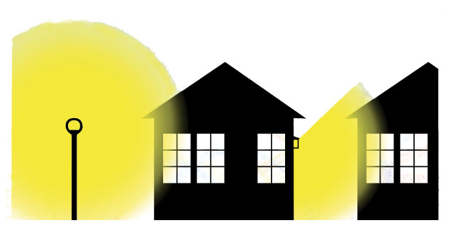 An illustration of outdoor lights shining outwards into the windows of a house.