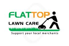 "Logo of man mowing a law with a push mower and the words ""flat top lawn care."""