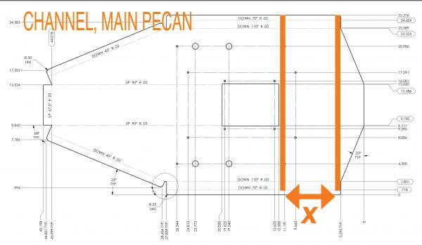 Main pecan channel sheetmetal layout.