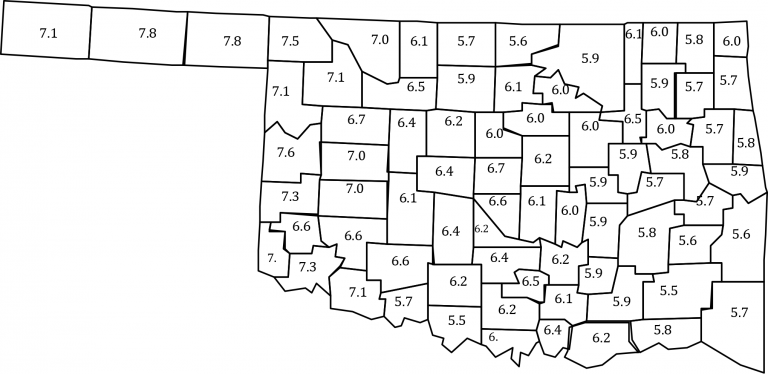 Map of Oklahoma with median soil test P index values tested between 2009 and 2013.