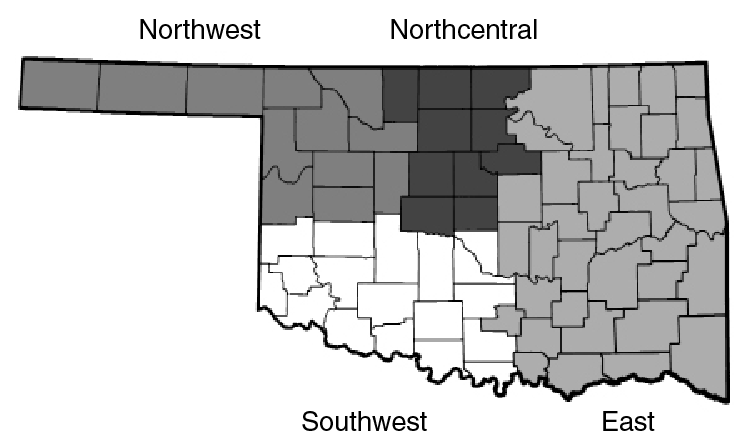 Oklahoma map showing regions used in reporting farmland leasing survey results.