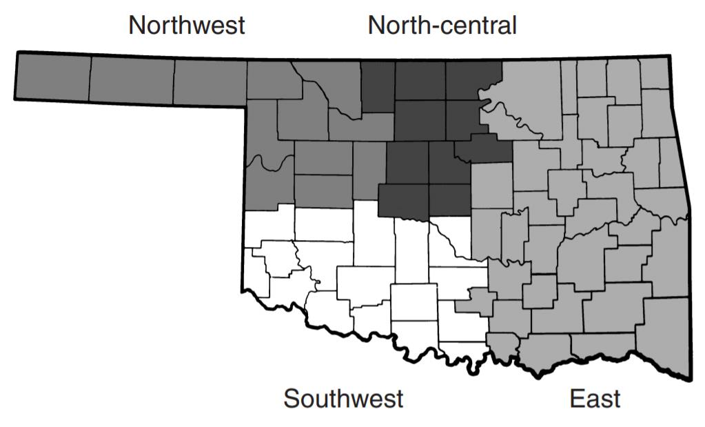 Map of regions in oklahoma