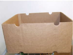 Cardboard box used for packing okra.