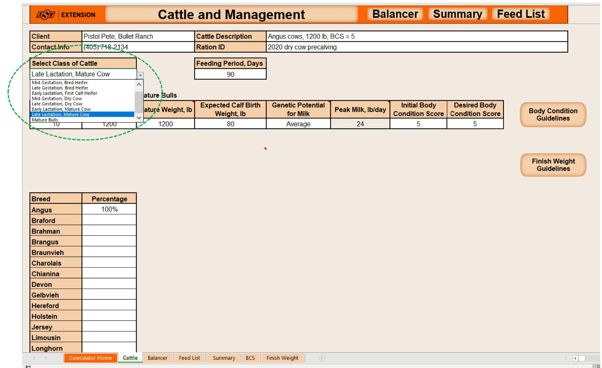 """Cattle and Management"" page showing drop-down list for classes of cattle."