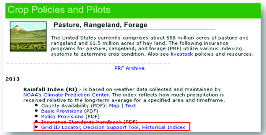 PRF website with the Grid Locator, Decision Support Tool, and Historical Indices website link circled.