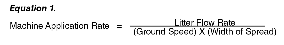 Equation 1: Machine Applicaiton rate =  ( Litter Rlow Rate )  /  (  (Ground Speed) x ( width of Spread )  ).