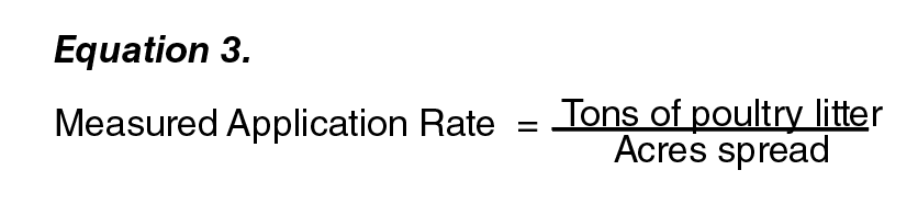 Equation 3:  Measured Application Rate = (Tons of poultry litter ) / (Acres spread ).