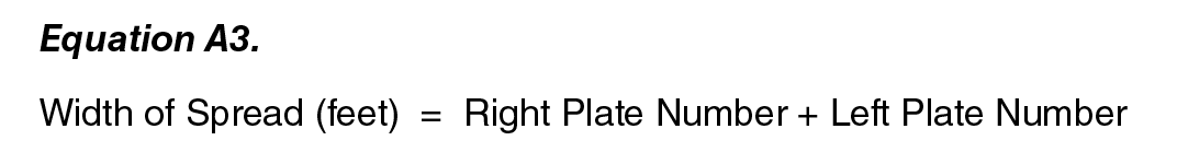 Equation A3:   Width of Spread (feet) = (Right Plate Number  + Left Plate Number ).