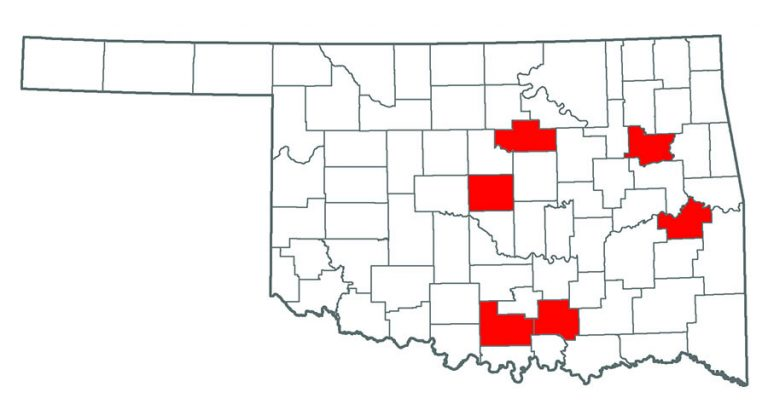 Map of Oklahoma showing where Alligator Weed grows.