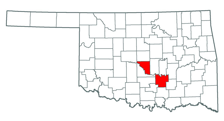 Oklahoma map showing where English Ivy is found.