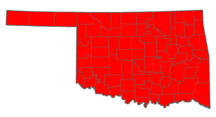 Oklahoma map showing that Bermudagrass can grow anywhere.