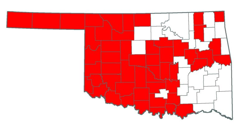 Oklahoma map showing where Saltcedar or Tamarisk is.