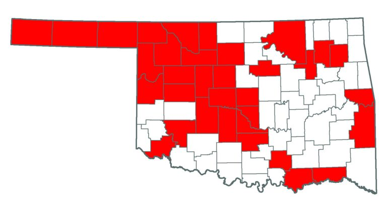 Oklahoma map showing where Siberian Elm is.