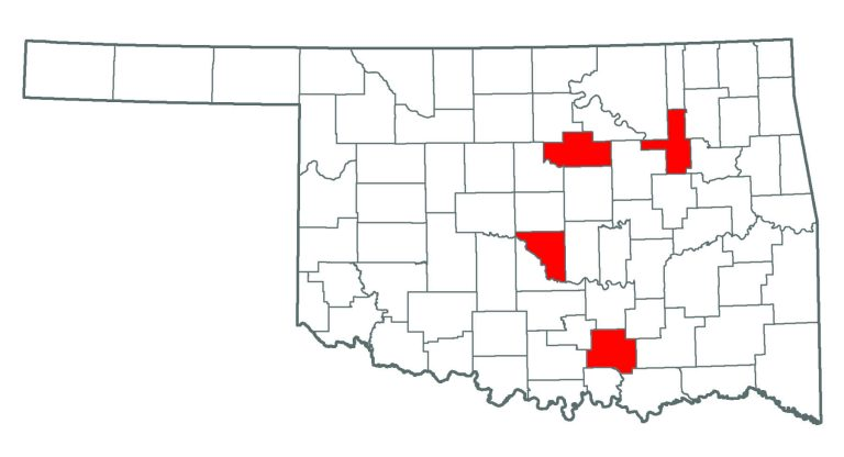 Oklahoma map showing where you can find Water Hyacinth.