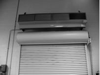 This image shows an air curtain above a roll-up dock.