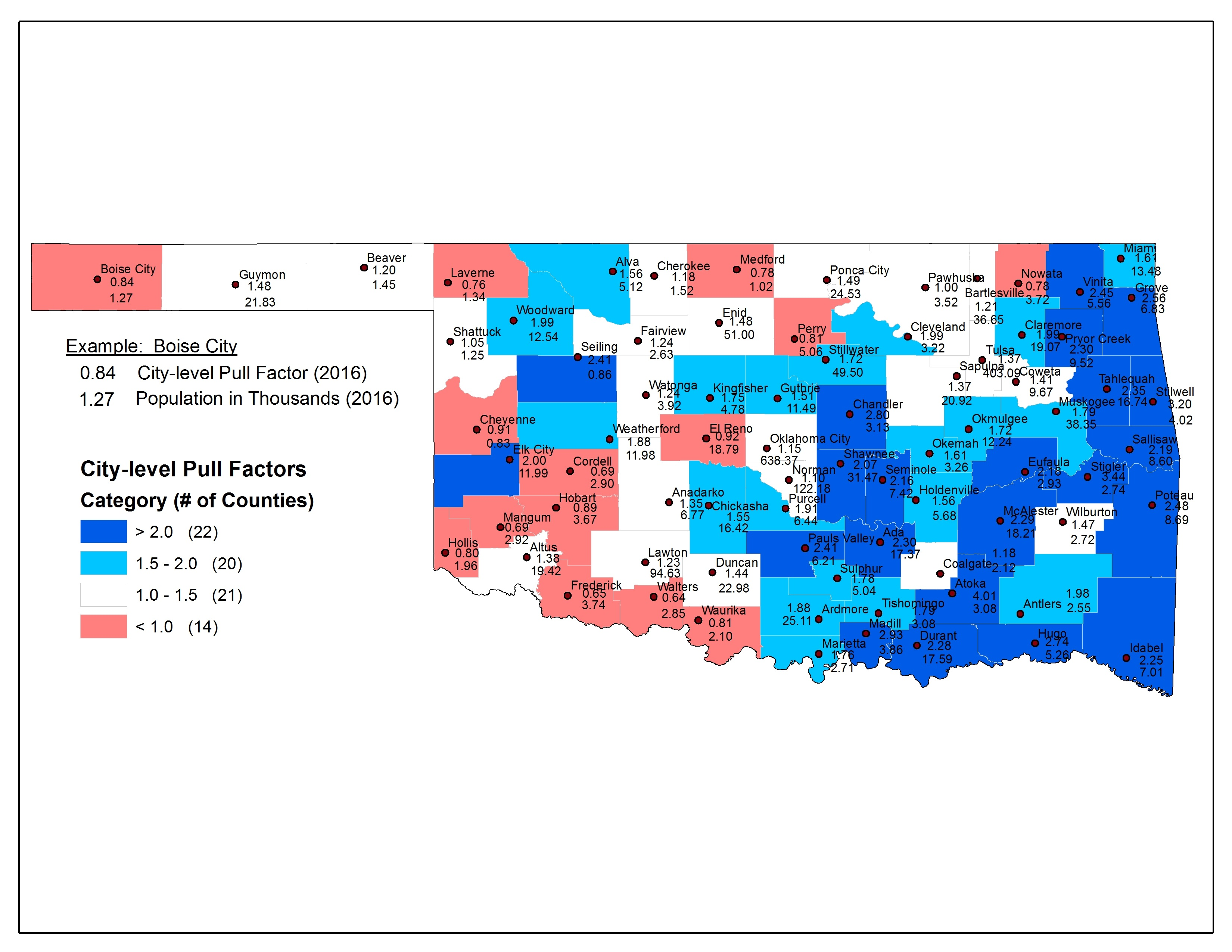 City-level Pull Factors for the Largest Town in each Oklahoma County (2016).