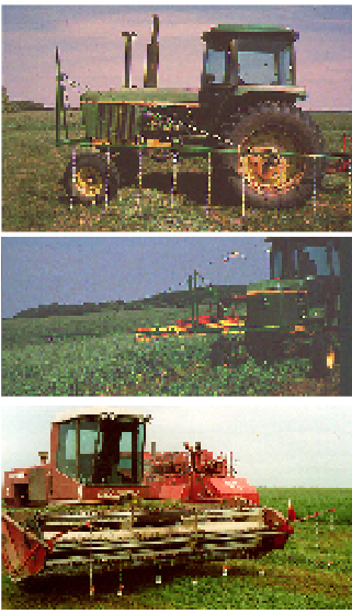 Tractor-pulled and self-propelled haybines mounted with flushing bar devices.