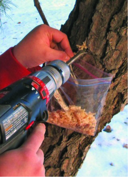 Handhelld drill shavings in a plastic bag