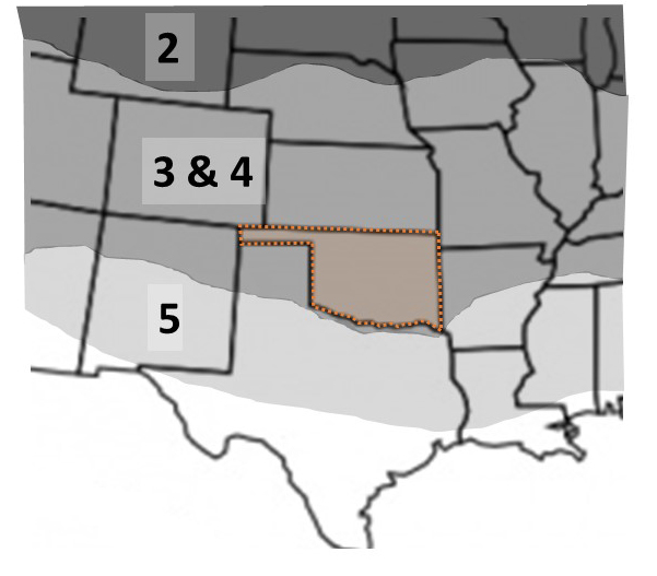 Map showing winter hardines and Oklahoma is outlined.