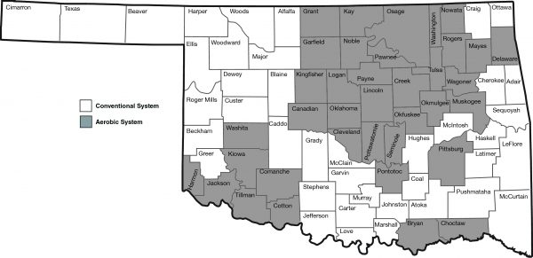 Dominant type of septic system in each county in Oklahoma during 2015 to 2017.