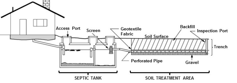 Schematic illustration of a conventional septic system.
