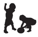 Two infants playing with a ball.