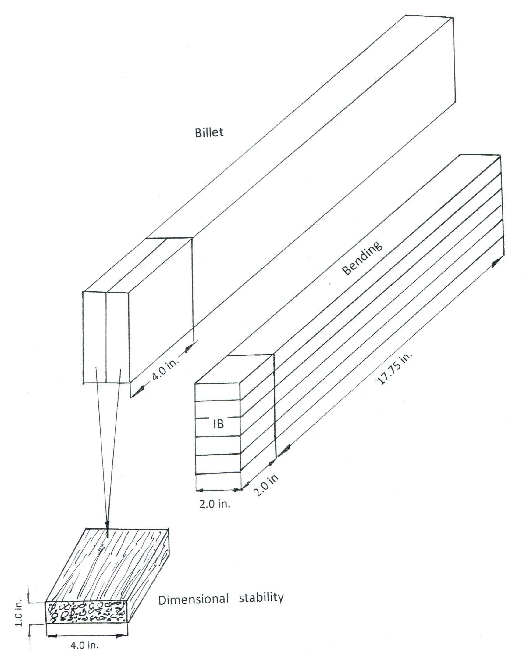 Cutting schematic of the lumber samples.