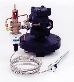Self-activating temperature control steam valve.