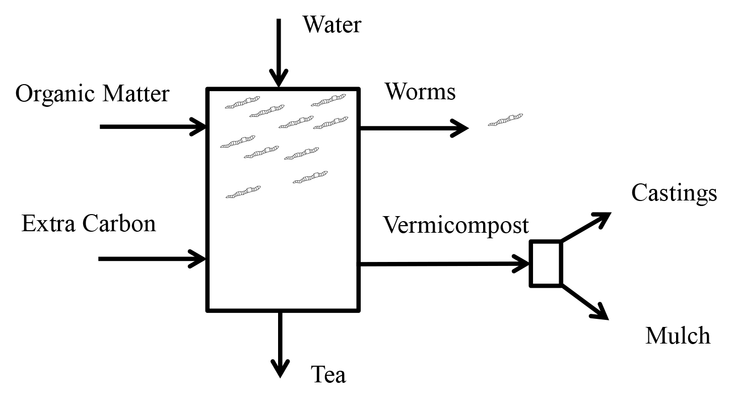 Inputs and products of vermicomposting.