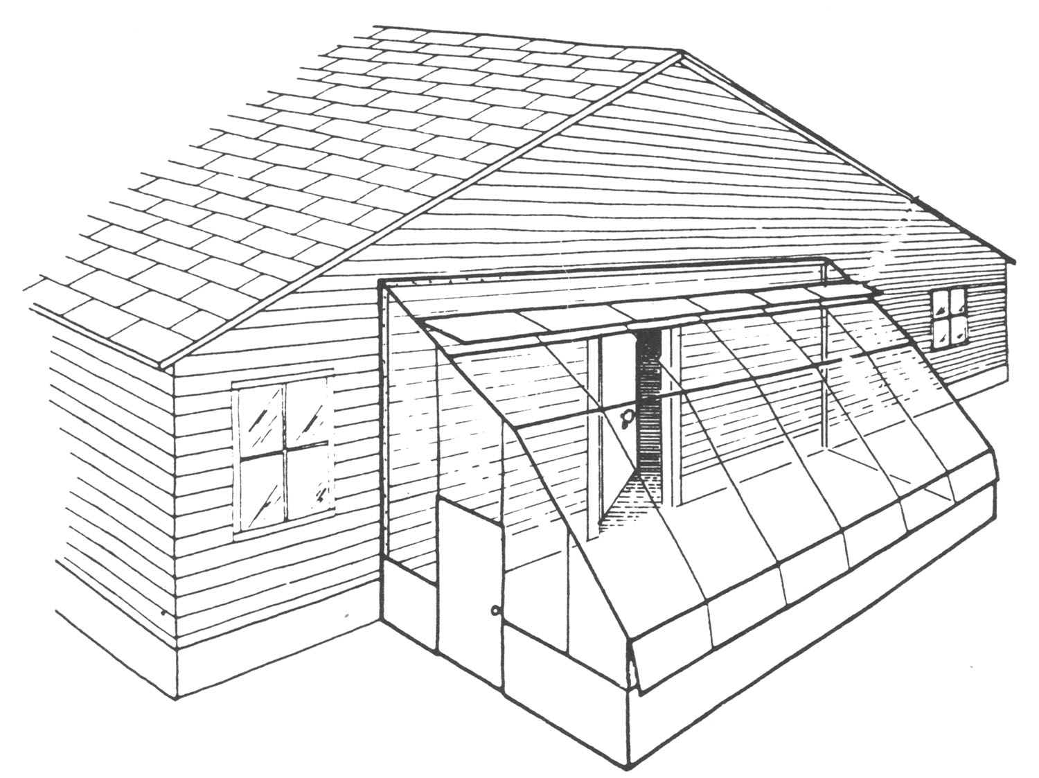Sketch of an attached lean-to greenhouse.