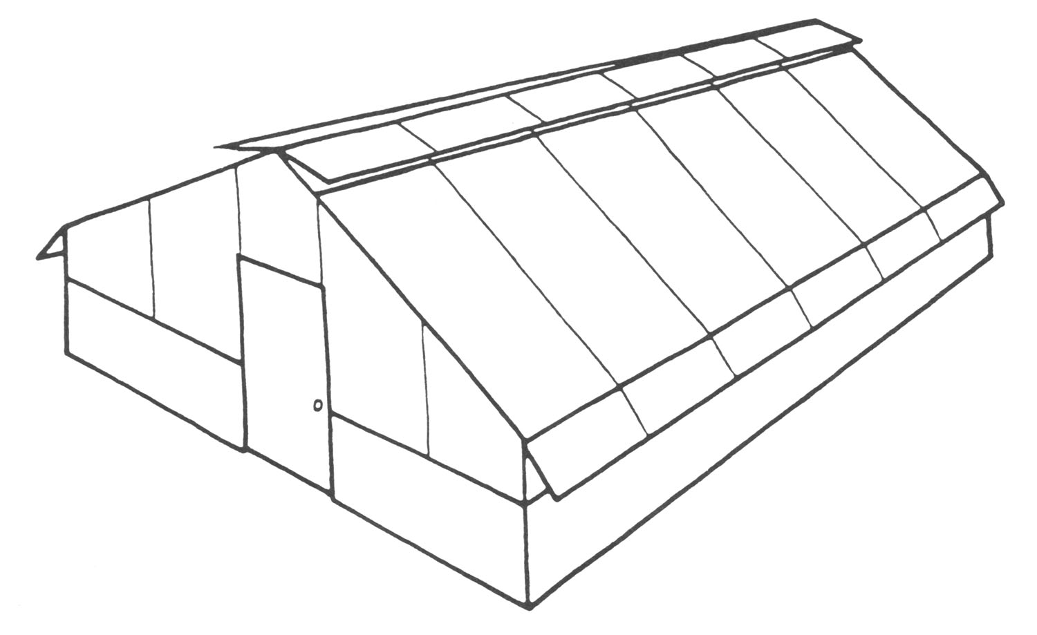 Sketch of a freestanding greenhouse.