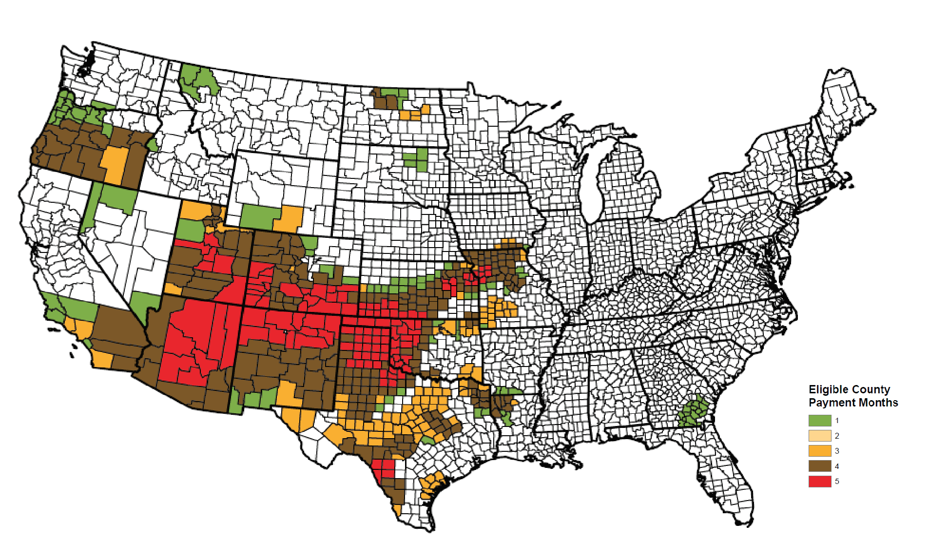 Eligible counties for Livestock Forage Disaster Program payments on native pasture in 2018.