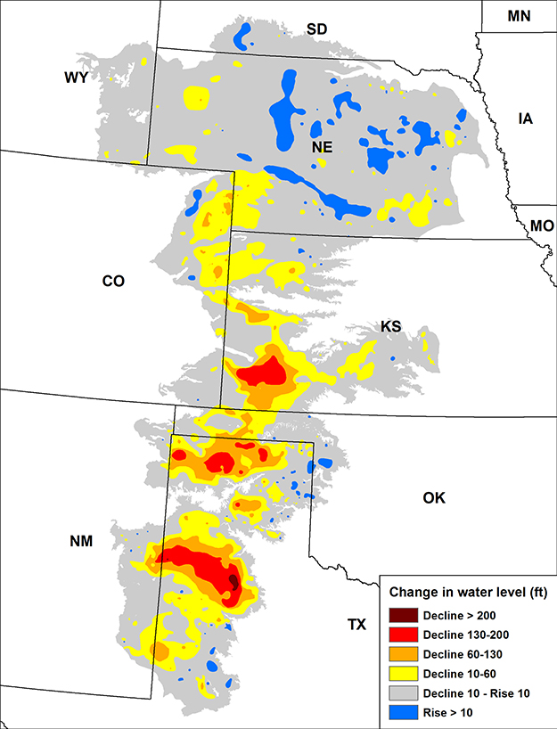 Map of the change in the Ogallala aquifer water level from predevelopment (1950s) to 2013.