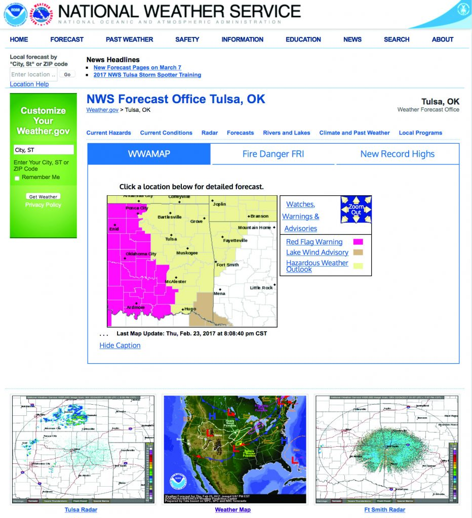 Screenshot of the NWS Local Office webpage.